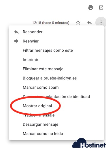 mostrar original gmail