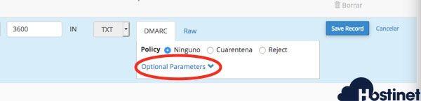 panel configuracion dmarc cPanel