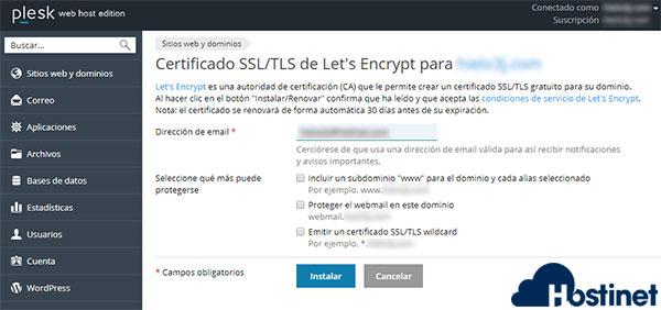 Plesk Lest's Encrypt Instalar en Dominio SIN www
