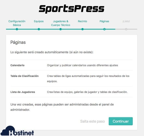 sportspress paginas  WordPress