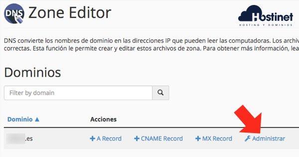 administrar dominio zone editor cPanel