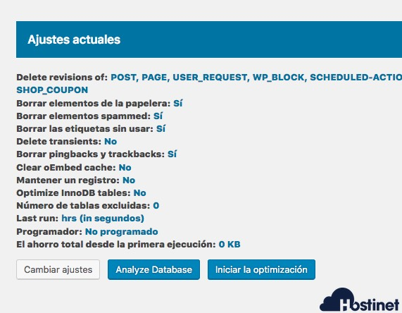ajustes actuales optimizar revisiones WordPress
