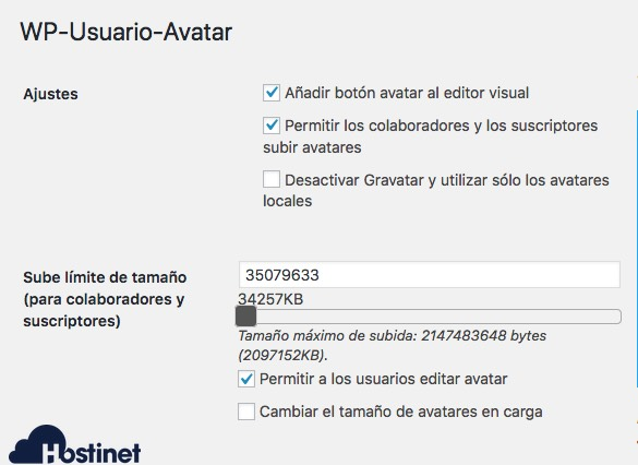 ajustes wp user avatar WordPress