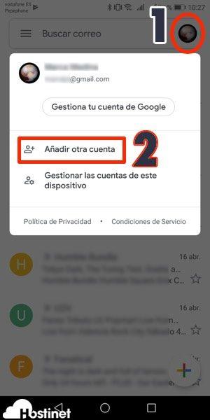 app gmail anadir cuenta Android