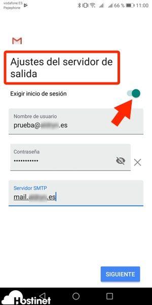 app gmail anadir servidor salida Android