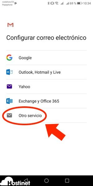 app gmail otro servicio Android