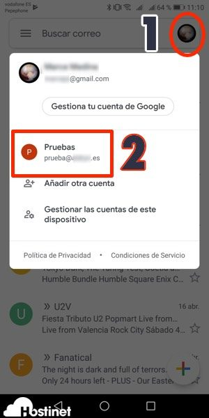 app gmail saltar entre cuentas Android