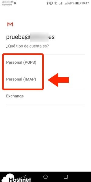 app gmail tipo cuenta 2 Android