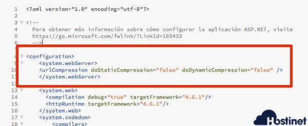 codigo gzip muestra Web.config
