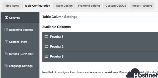 configuracion tabla ninja tables WordPress