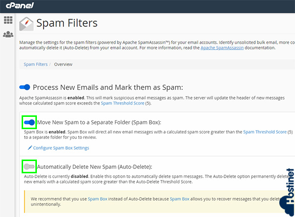 cpanel spam filters mover spam a otra carpeta