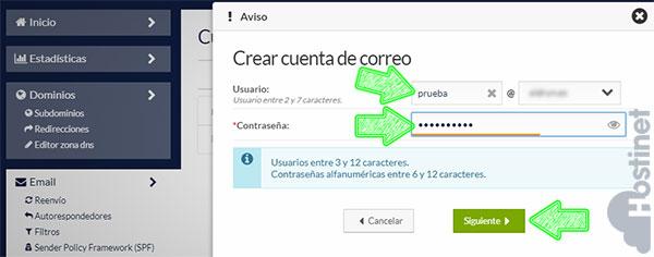 Crear una Cuenta de Email desde Panel de Cliente de Hostinet (Usuario y Contraseña)