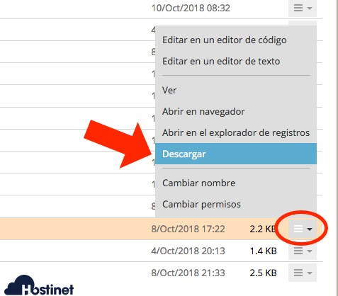 descargar web config desde Achivos de Plesk