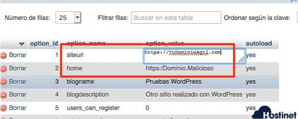 editar siteurl home phpmyadmin WordPress