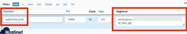 ejemplo registro txt Search Console
