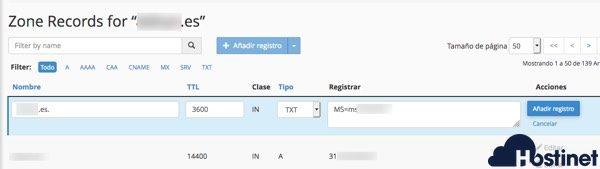 ejemplo registro txt cPanel