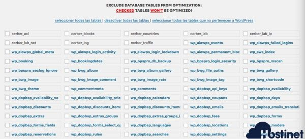 excluir tablas optimizar revisiones base datos WordPress
