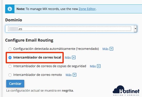intercambiador local cpanel