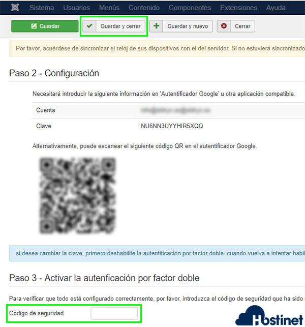 joomla autenticación dos factores usuario qr código