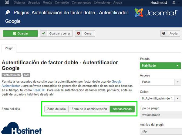 joomla plugins autenticación dos factores autentificador google