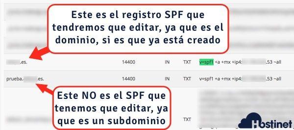localizar registro spf en cPanel