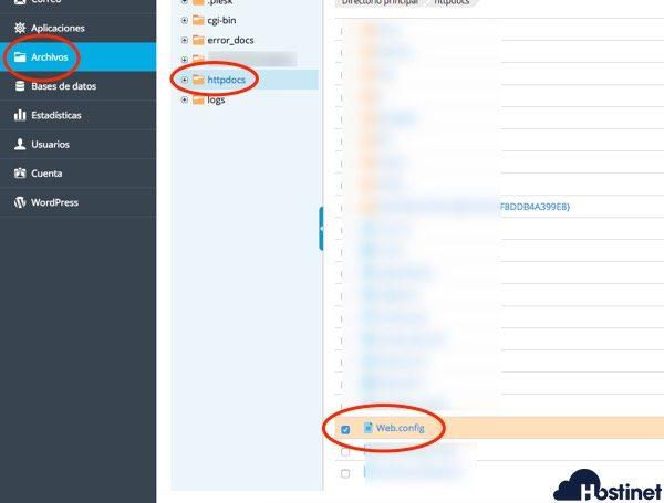 localizar web config en Plesk