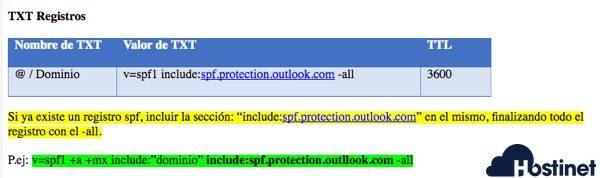 office 365 registro spf o editar uno ya creado