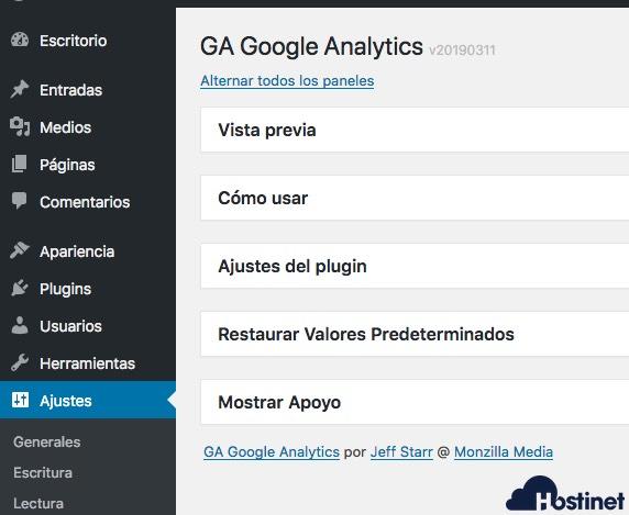 paneles ga google analytics WordPress
