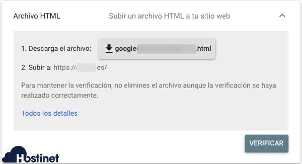 search console archivo html Google