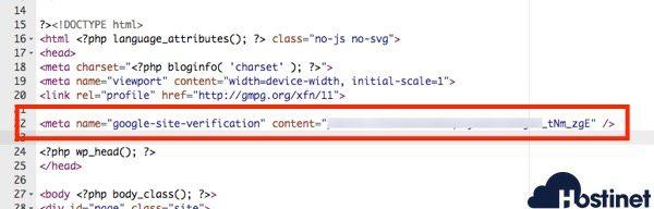 verificacion etiqueta html Search Console
