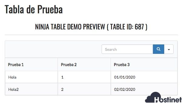 vista previa ninja tables WordPress