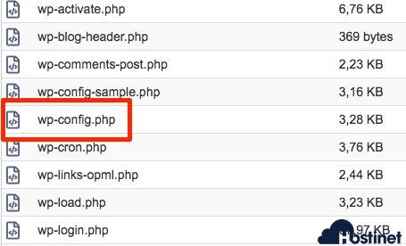 archivo wp-config wordpress cPanel
