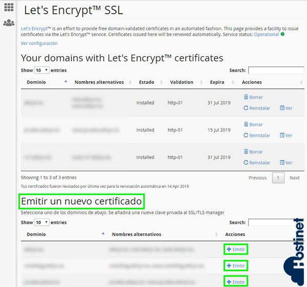 cpanel seguridad let's encryptssl emitir