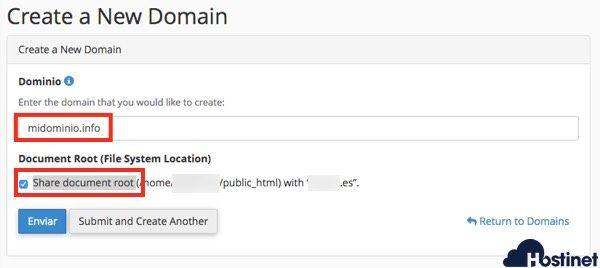 dominios cpanel crear alias - cPanel