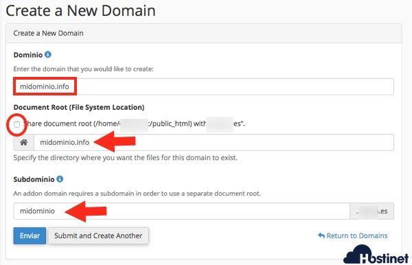 dominios cpanel crear dominio adicional - cPanel