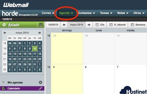 horde agenda calendario de cPanel