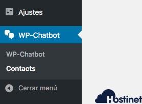 menu wp-chatbot WordPress