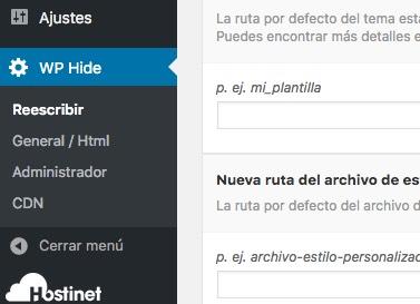 menu wp hide enhancer en WordPress