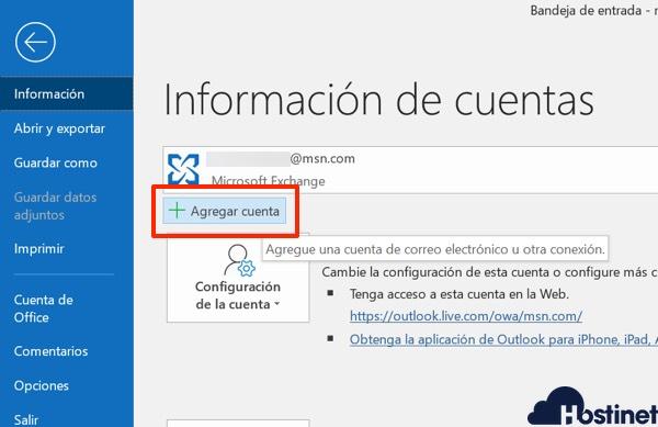 outlook 365 agregar cuenta desde Windows 10