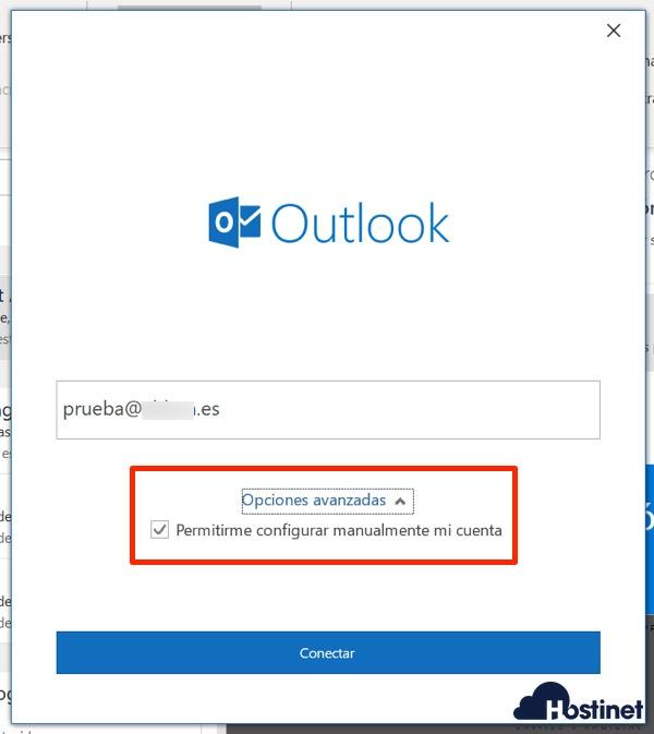 outlook 365 configurar cuenta correo electrónico de manera manual