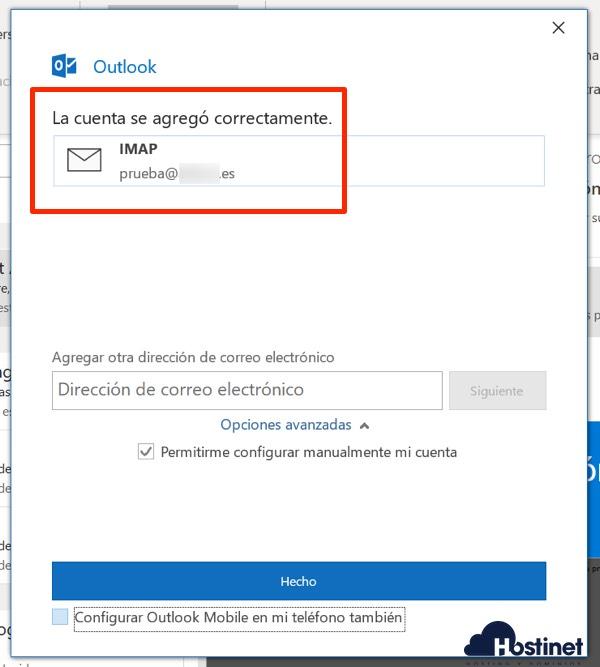 outlook 365 cuenta agregada sin más configuraciones