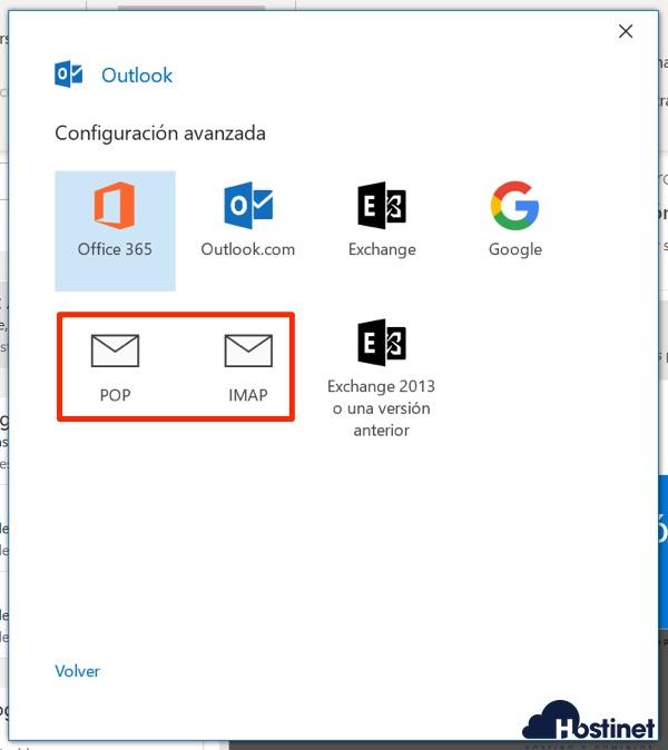 outlook 365 pop imap para cuenta de email - Hostinet