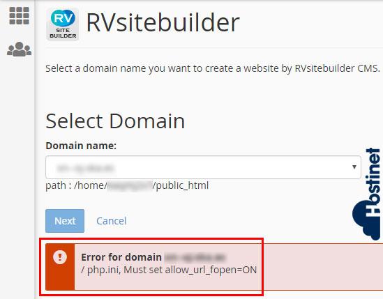 rvsitebuilder 7 allow url fopen