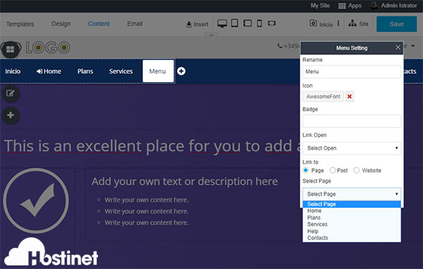 rvsitebuilder 7 content menu menu