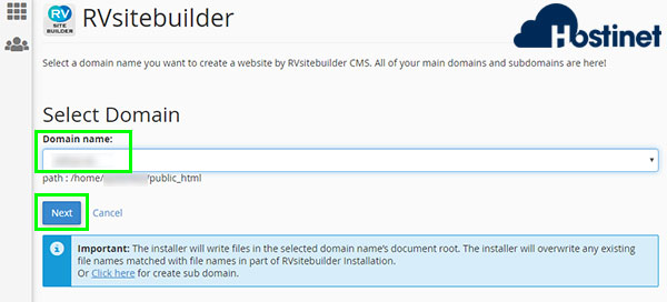 rvsitebuilder 7 create new site next