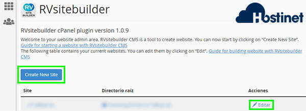 rvsitebuilder 7 create new site