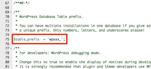 table prefix cambiado wordpress modificado