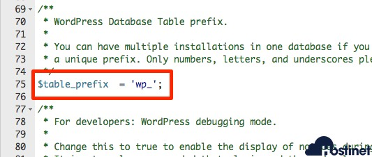 table prefix wordpress predeterminado
