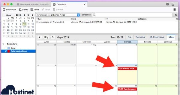 thunderbird calendarios cpanel sincronizado con calendario cpanel