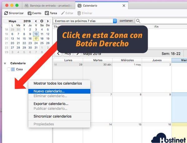 thunderbird crear nuevo calendario para sincronizar